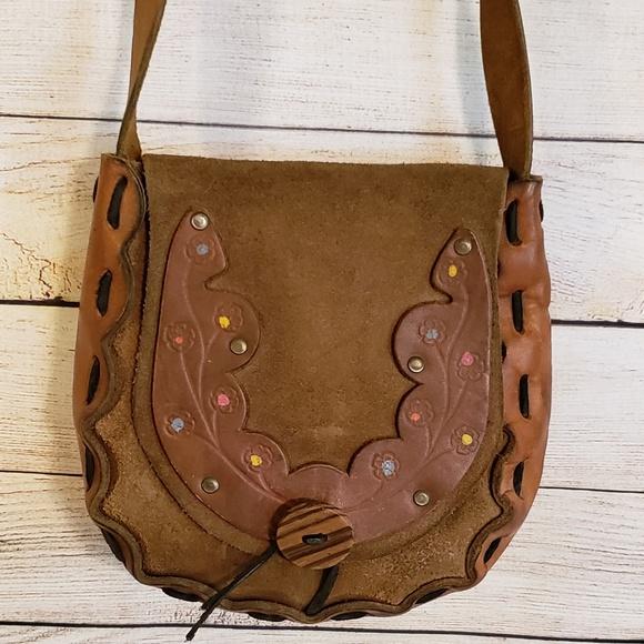 Handbags - Vintage 60's 70's Hand Tooled Leather Handbag